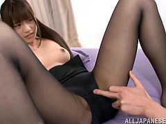 Sizzling Japanese girl shows her boobs and then the guy starts to lick them. After that he touches her nice ass and fingers the pussy. Later on Ai gets fucked in missionary and doggystyle poses.