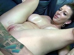 Brown-haired chick with big tits and ass gives an amazing blowjob to lucky man. Afer that she plays with her pink pussy and gets fucked from behind.