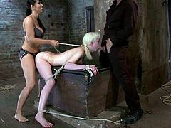Submissive Cherry Torn gets choked and toyed by Isis Love