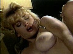 This gorgeous blondie is the full package. She has a nice set of big boobs and a nice round ass. She gets into sideways position to let her lover bang her hard. He pounds her fascinating hole ruthlessly in and out until she cums.
