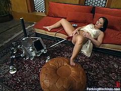 What a smoking hot brunette siren Katja Kassin is! She gets naked and starts having some pleasures with a fucking machine oh, she is so hungry!