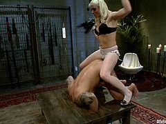Dutch Bardoux and Lorelei Lee are playing dirty games in a basement. Lorelei binds Dutch and whips his ass and then takes a nice ride on his hard cock.