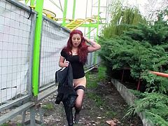 Take a look at this hot scene where the sexy redhead babe Sophia Wild sucks on this guy0s big cock outdoors before being fucked.