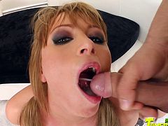 Watch this slutty blonde swallowing a big load of cum in this hardcore scene where she's nailed by this guy.