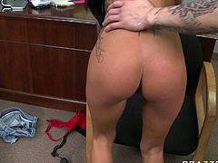 At first frisky tattooed brunette whore sucks dick. Then she hops it intensively and you can be pleased with her big round fake tits bouncing like crazy.