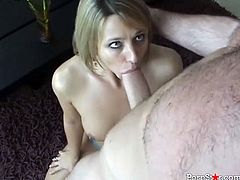 Brianna Beach is a gifted cock sucker. She sucks her lover's big cock with great enthusiasm. Then she wants him to return the favor and eat her delicious twat. Horny stud can't decline the offer.