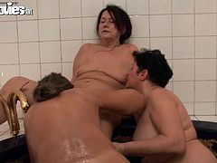 Press play on this hot scene and watch these three horny grannies have a lesbian threesome in a jacuzzi as you hear them moan.