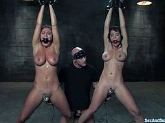 BDSM threesome sex with two divine brunette angels Charley Chase and Derrick Pierce. Babes are being tied up and poked so fucking hard.