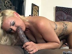 Tempestuous Caucasian babe gets her pussy licked by horny black stud. She then takes massive dong in her mouth sucking like vacuum cleaner. Dirty interracial fuck video presented to you by Fame Digital.