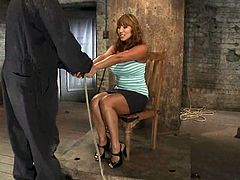 Curvaceous MILF gets undressed and tied up. Later on she also gets gagged by the master. This guy has the opportunity to do whatever he wants.
