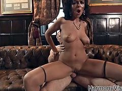 Make sure you have a look at this hardcore scene where the busty brunette Linet Slag is drilled by these guys' thick cocks in a hot threesome.