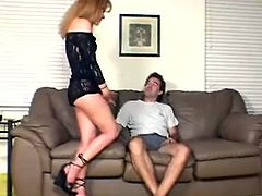 She gets turned over his knee, her panties pulled down, and her ass spanked. Once her cheeks are red he slips a finger into her wet pussy.