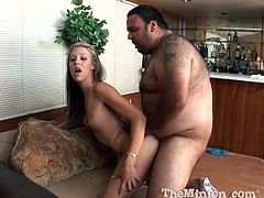 Sexy pornstar Leah Luv bounces her sweet ass on this fat guy's dick then she opens up wide and swallows his sticky load.