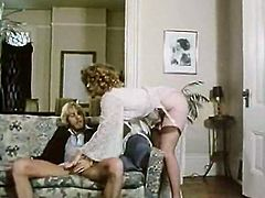 Brazen retro mommy in stockings gets plowed doggystyle and gives blowiob at the same time. Then babe joins her juicy girlfriend in bedroom and licks her delicious twat.