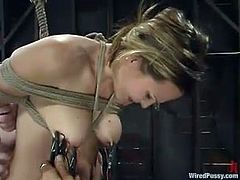 Blonde chick gets tortured with electricity by two brunettes