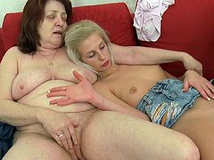 Needy young dolls are having an amazing lesbian trio along horny mom