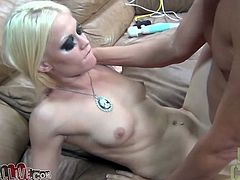 Two salacious blondes Ash Hollywood and Cameron Canada are having fun with a man indoors. They favour him with a blowjob and then jump on his hard schlong and moan loudly.