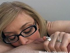 This blonde milf is really, really naughty. She and her husband do all kind of kinky stuff. This time, she sucks on a new guy's cock and makes him give her a facial.