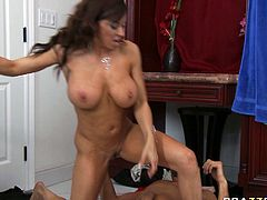 Provocative MILF with big boobs and round ass sits on a top of the table with her legs wide open. She is nailed deep in her cunt missionary style. Later on she rides hard shaft on to. Awesome Brazzers Network porn video.