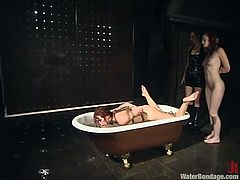 She's submersed in a bathtub with cold water and her gf is made to watch. The two redhead chicks have no idea what will happen next and they are scared. Look at them tied on the wall and ball gagged. Their expression say a lot but the last word will have their mistress!