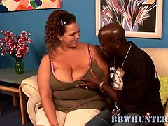 She is a fatty and this black hommie is so high about fatties. He thinks that they are sexy and enjoys how, her mouth polishes his cock!