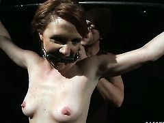 Redhead shows off her hot body as she gets her mouth banged by mans sturdy cock