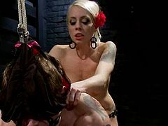 Stunning blonde mistress ties a guy up and fixes clothespins to his dick. After that she toys his ass with a strap-on and rides a dick.