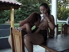 They starts licking their wet cunt on grass and they lay on table and get in 69 pose. Watch this naughty chicks having nice sex.