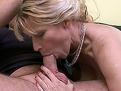 Mature blonde mom fucked on the couch