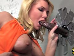 Naughty babe Flower Tucci is starving for and so she go in toilet to masturbate but she gets there huge black cock to fuck and she was so happy.