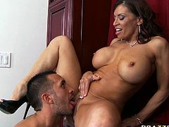 Lustful MILF with big fake boobs and ample round booty is hammered deep in her cunt doggy style. She then gives deepthroat blowjob. Thirsty dude eats her pussy later on.