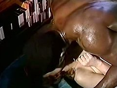 This insatiable whore wants to get really wild with this black stud's pecker. She rides him passionately in cowgirl position making her fine ass bounce up and down.