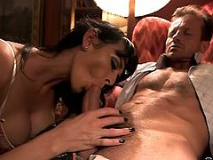 Watch the slutty brunette belle Frinki flaunting her hot tits and sexy ass while giving her man an amazing blowjob.