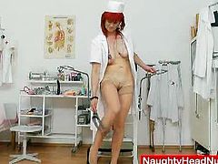 Milada is a horny redheaded slut and she loves to play with her pussy in her office. Watch her opening her legs and using her vibrator till a deep orgasm.