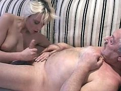 Cutie feels old cock getting hard in her mouth and tight little vag