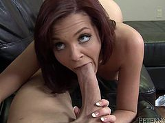 Babe loses her mind to see that super huge and thick cock! She takes it in her mouth and then honey receives the deepest insertion ever in her life.