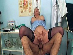 Watch this blonde nurse with enormous boobies toying her pussy before doctor interrupted her. He decided to help her out with his meaty cock and sticked it ballsdeep into her cunt.