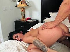 Madelyn Monroe wanted to have some fun before the wedding and took a huge cock into her horny mouth. She made it hard as a rock and received some hard pumping too!