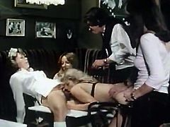 Torrid blonde hooker in stockings gets fucked doggystyle while licking her hot housemaid's hairy pussy. Then brunette maid gets her bearded cunt banged on her side from behind.