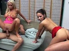 Blonde and brunette are getting pleasure from sex
