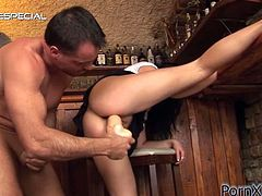 Have fun with this hardcore scene where the slutty brunette Barbara El Fireb is drilled by this guy until she eventually ends up soaked in his warm piss.