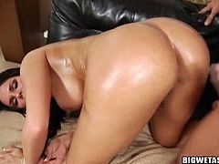 Mackenzee Pierce takes cock between her ass cheeks in the piledriver position at first, and then she changes it to doggy style. This guy buries his face there, not just his cock.