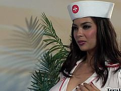 This patient needed some special oral care so nurse Tera Patrick gave him what he needed by nursing on his dick until he came.