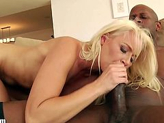 Stunning blonde Anikka Albrite loves interracial threesomes. After playing outdoors under the hot sun she got kinky and took one big cock in her mouth and pussy.