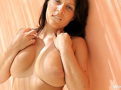 This amazing busty babe has incredible body made for hardcore fucking. She has rubbing her pierced pussy and squeezing that big melons.