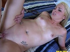 Take a look at the beautiful Ashley Stone's sexy body in this hot scene as she takes off her clothes before having sex with this horny guy.