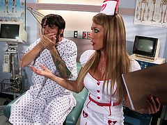 Horny nurse is checking his big dick and helps him to gets his semen. She left only stockings on her and started to rode his cock wild and crazy.