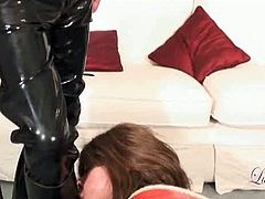Luci May brings you a hell of a free porn video where you can see how a horny brunette TGirl gets tied up before blowing her master with her vicious mouth.