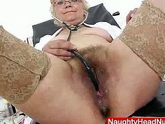 Solo Hairy Bush Nurse will let the camera go right up her old twat and show you it's still tight and ticklish on the inside!