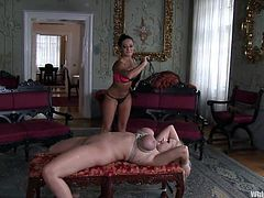 Such a busty and pretty blonde couldn't escape from mistress Sandra. Angel finds out the hard way that high class woman can be meaner than men when it's about sex and domination. She's tied and her big breasts are squeezed with rope as Sandra whips and spanks her. Yeah, she's receiving it in a bourgeois way